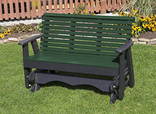 4FT-TURF GREEN-POLY LUMBER ROLL BACK Porch GLIDER Heavy D...