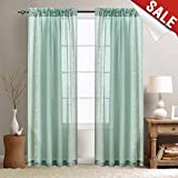 Sheer Curtains for Living Room 95 inch Long Window Sheers for Bedroom, Embroidery Voile Window Treatment Curtain (1 Panel, Spa)