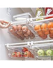 Chirsemey Kylskåpsarrangör, kylskåp låda, utdragbar hängande transparent frys kylskåp låda för frys, kök, bänkskivor, skåp, matkam