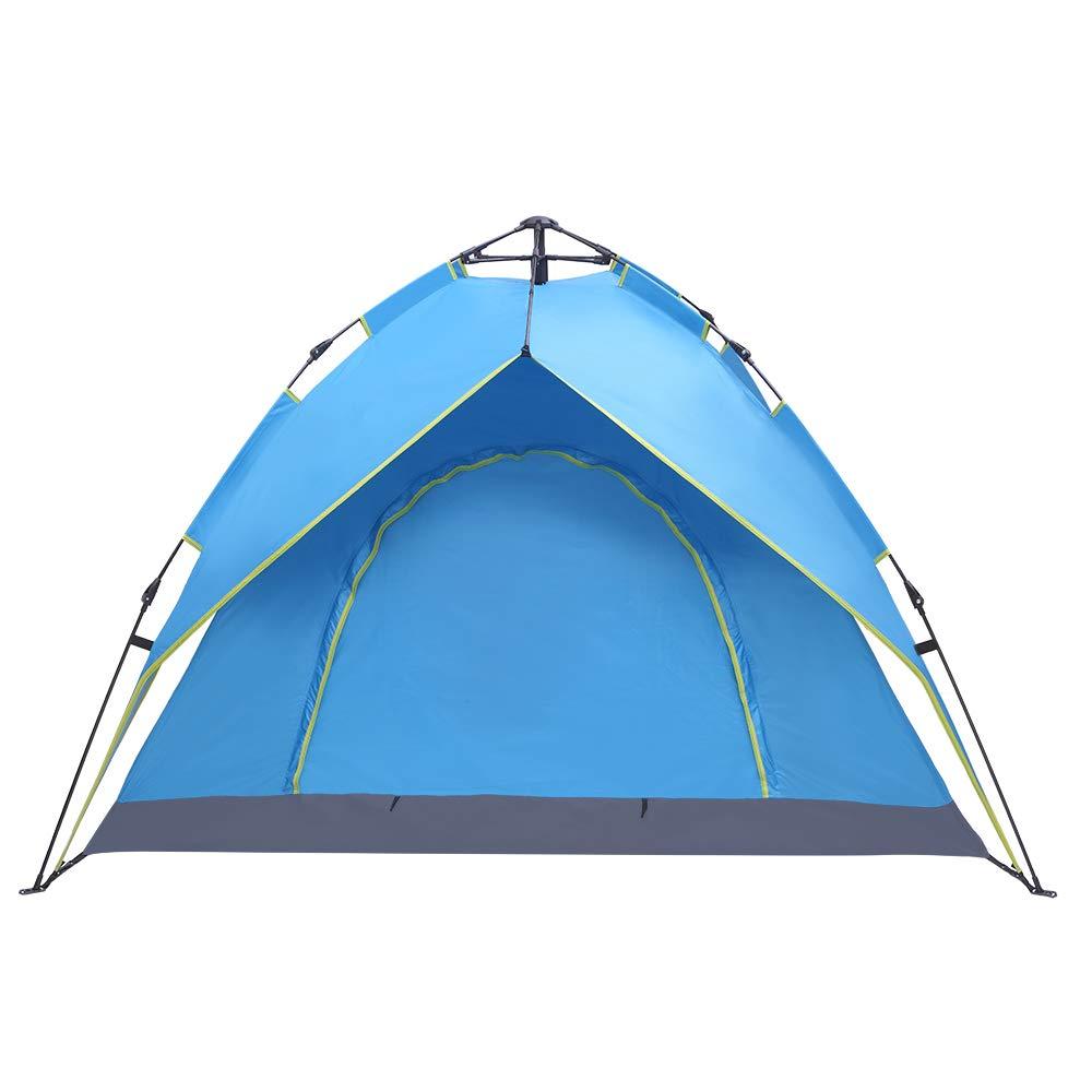Tenozek 2-3 Person Double-Deck Tow-Door Hydraulic Automatic Tent Free Build Outdoor Tent Blue (TN-93073411-GT) by Tenozek