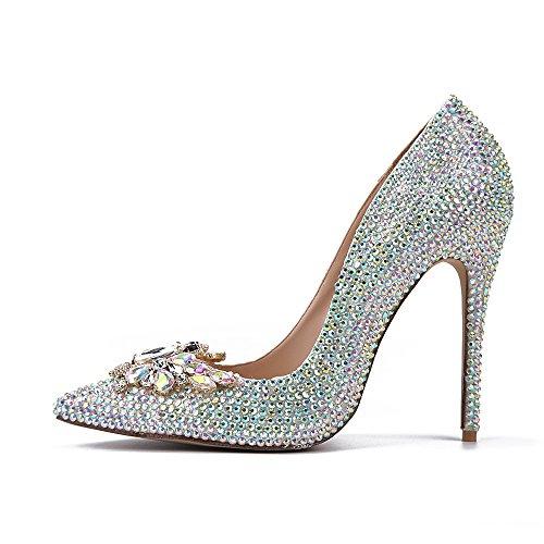 Ximu Nuevos Diamantes Zapatos de Metal Mariposa Hebilla Tacones Altos Banquete de Dama de Honor de La Bomba de Las Mujeres 11 cm Colorful
