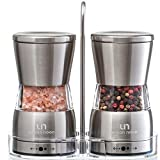 Premium Salt and Pepper Grinder Set - Stainless Steel Shakers with Stand in Luxurious Gift-Box - Mills with Ceramic Grinders and Adjustable Coarseness - Bonus: eBook