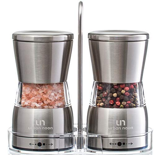 - Premium Salt and Pepper Grinder Set - Stainless Steel Shakers with Stand in Luxurious Gift-Box - Mills with Ceramic Grinders and Adjustable Coarseness - Bonus: eBook