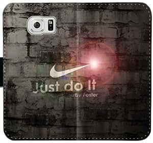 Caja del cuero de Nike Just Do It K6U2I Funda Samsung Galaxy S6 Edge funda l03k7B únicos telefónica personalizada funda caso del tirón