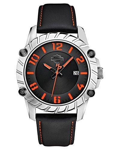 Harley-Davidson Men's Bulova Black & Orange Leather Wrist Watch 76B167