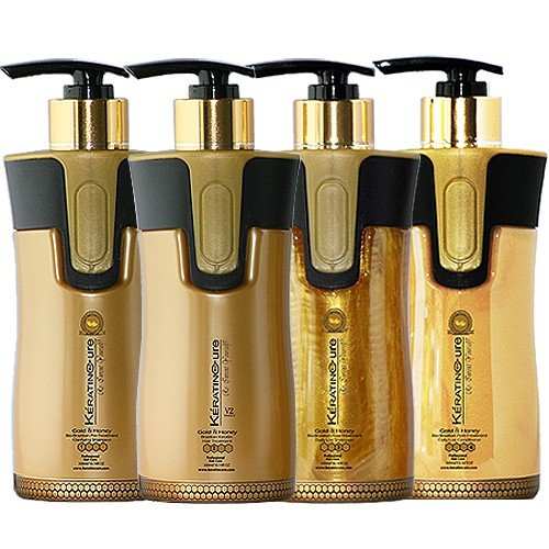 Keratin Cure Brazilian Global Complex Blow Out Hair Smoothing Treatment Kit Gold & Honey V2 CREME 4 Piece Kit 300 ML /10 FL OZ - Tratamiento Brasilera de Keratina Alisado by Keratin Cure