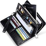 Huztencor Wallets for Women RFID Blocking Women's Big Fat RFID Leather Wallet Clutch Organizer Passport Checkbook Holder Wrist Strap Wristlet Oil Wax Leather Black