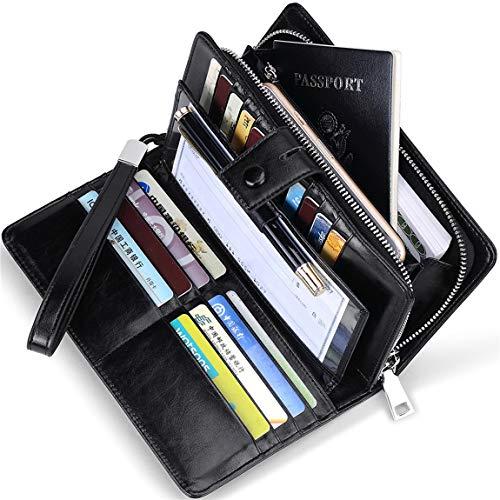 Huztencor Wallets for Women RFID Blocking Women's Big Fat RFID Leather Wallet Clutch Organizer Passport Checkbook Holder Wrist Strap Wristlet Oil Wax Leather Black - Leather Checkbook Cover Organizer Wallet