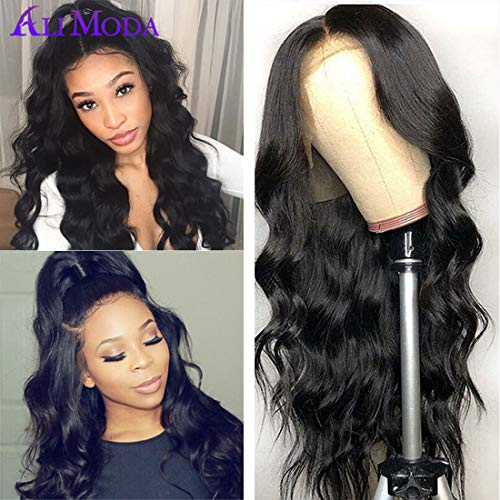 Ali Moda 360 Lace Frontal Wigs Pre Plucked with Baby Hair,Bleached Knots Body Wave Human Hair Wigs 360 Lace Wigs 130% Density Human Hair Natural Hairline (20