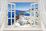 window into SANTORINI greek coast FAMOUS WHITE WASH & BLUE poster 24X35 hot