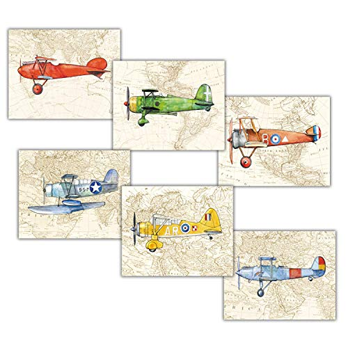 Airplanes on The World Map Set of 6 prints 8x10