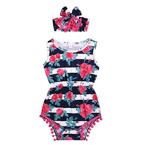 (RoDeke Baby Girls Floral Rosette Print Sleeveless Striped Tassels Bodysuit Romper + Headband Outfits White)