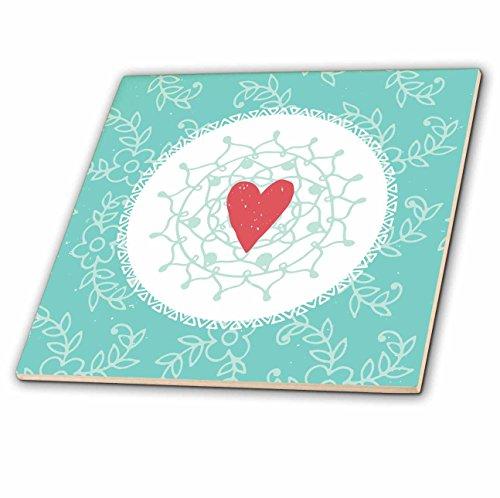 Valentine Tile (3dRose Uta Naumann Sayings and Typography - Valentines Day Love Illustration - Love Mandala Pattern - 4 Inch Ceramic Tile (ct_275408_1))