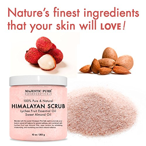 Majestic Pure Himalayan Salt Body Scrub with Lychee Essential Oil, All Natural Scrub to Exfoliate & Moisturize Skin, 10 oz by Majestic Pure (Image #5)