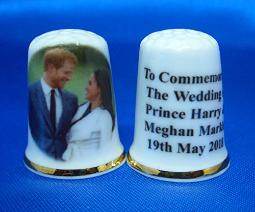 Birchcroft Porcelain China Collectable Thimble - Prince Harry & Meghan Royal Wedding May 2018 Birchcroft China