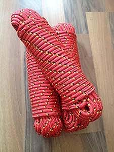 Nº 2escota, cordel, cuerda, comba, GUMMISEIL, planifica, plástico Cuerda 8mm x 30m, tauwek, cuerda, color rojo