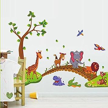 Adesivi Murali Con Animali.Kibi Simpatici Animali Giraffa Coccodrillo Elefante Leone Albero Adesivo Da Parete Animali Rimovibile Adesivi Murali Albero Con Animali Stickers Muro