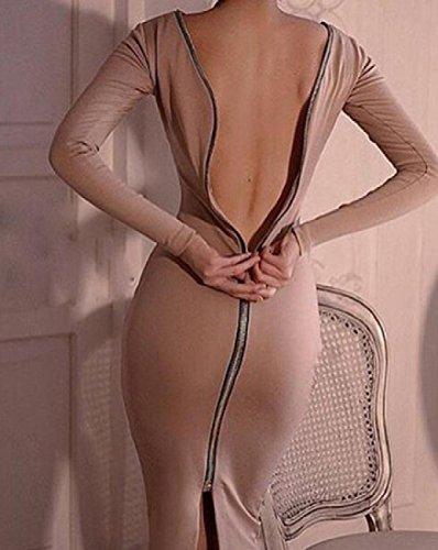 Les Femmes Coolred À Manches Longues, Plus La Taille Cocktail Fermeture Éclair Solide Kaki Robe Clubwear