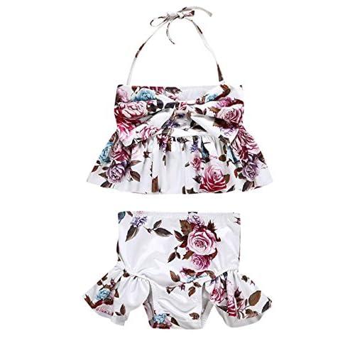 a6c547dcd6 Urkutoba Kids Girl Floral Swimsuits Halter Bathing Suit 2pcs Butterfly Bow Bikini  Set Ruffle Tankini Swimwear