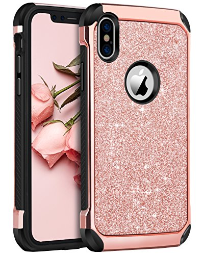 iPhone X Case, iPhone 10 Case, BENTOBEN Shockproof Glitter Sparkle Bling 2 in 1 Laminated with Shiny Faux Leather Hard Case Soft Bumper Protective iPhone X Cover for Girl Women, Rose Gold/Pink