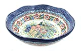 Polish Pottery Hummingbird Large Scallop Bowl
