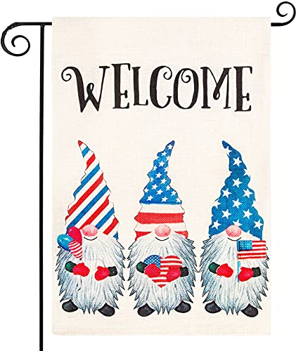 Eunvabir 4th of July Garden Flag Independence Day Welcome Gnomes Patriotic Garden Flag Strip and Star Double Sided…