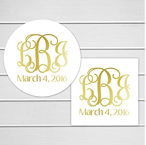 Monogram Stickers, Gold Foiled Monogrammed Stickers,Wedding Favor Stickers with Real Gold Foil (Monogram Candy Jars)