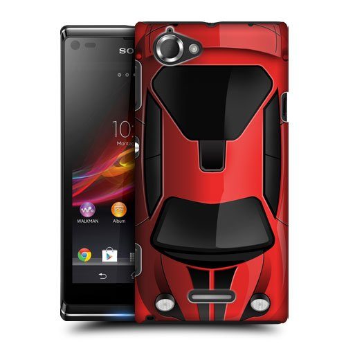 Head Case Designs Red Case Cars Protective Snap-on Hard Back Case Cover for Sony Xperia L C2105