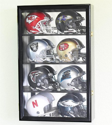 8 Mini Helmet Display Case Cabinet Holder Rack w/ UV Protection- Lockable with Mirror Back, Black