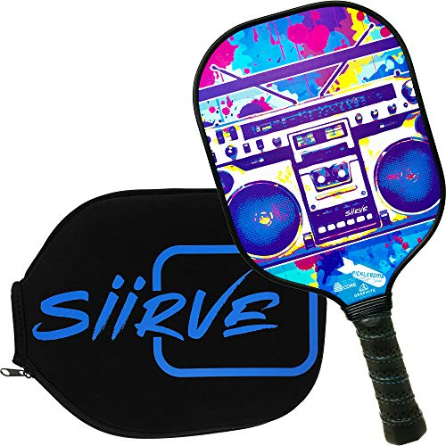 Tape Sided Polymer Double - Graphite Pickleball Paddle with Cover | Double Sided Graphics | Premium Pickle Ball Racket and Case | Polymer Honeycomb Core | Best Graphics (Audio)