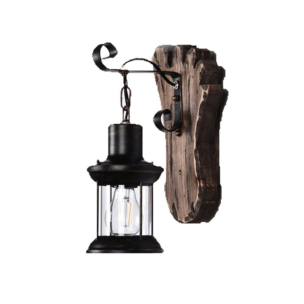 Wall Lamps,Retro Solid Wood Aisle bar Table Clothing Store Restaurant Bedroom Old Glass Cover Old Boat Wood 15x36cm Bracket Light