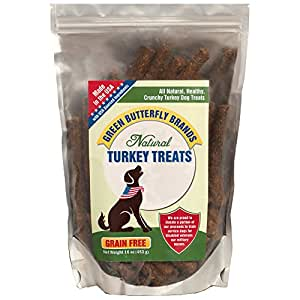 Green Butterfly Brands Grain Free Dog Treats – Made in USA Only – All Natural, Healthy Crunchy Turkey Sticks – Dogs Love – 16 oz.