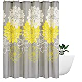 Grey and Yellow Shower Curtain Wimaha Peony Flower Fabric Shower Curtain Water Resistant Standard Shower Bath Curtain for Bathroom, Shower, Bathtub, Yellow and Grey, 72 x 72