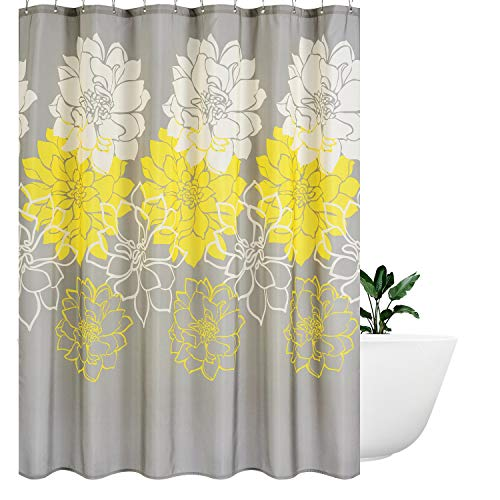 (Wimaha Peony Flower Fabric Shower Curtain Water Resistant Standard Shower Bath Curtain for Bathroom, Shower, Bathtub, Yellow and Grey, 72 x 72)