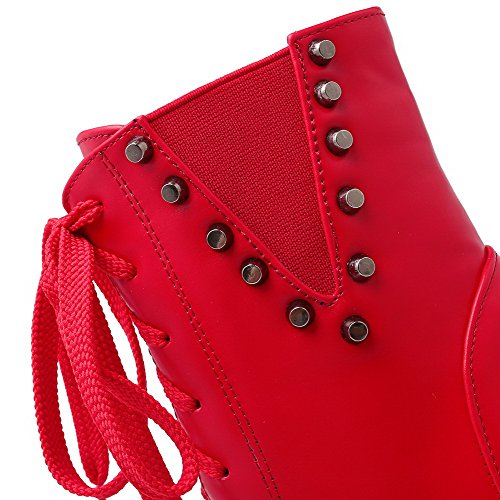 AgooLar Women's Low-Top Solid Zipper Round Closed Toe High-Heels Boots Red GVaJ24V8