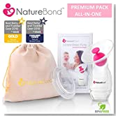 NatureBond Silicone Breastfeeding Manual Breast Pump Milk Saver Suction | Bonus Pump Stopper, Cover Lid, Pouch, Air-Tight Vacuum Sealed in Hardcover Gift Box. BPA Free [New 2019 Model]