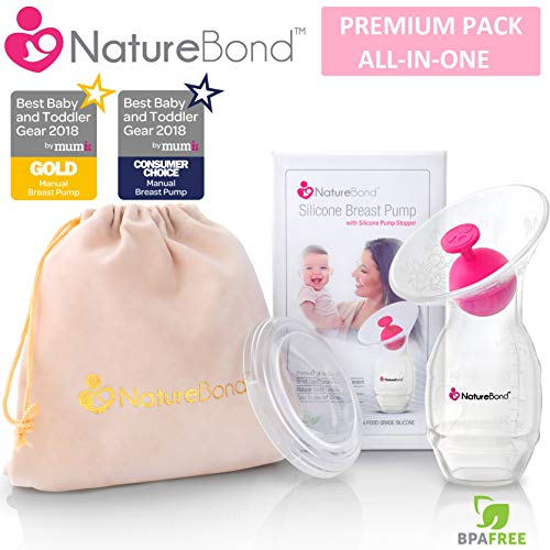 NatureBond Silicone Breastfeeding Manual Breast Pump Milk Saver Suction | Bonus Pump Stopper, Cover Lid, Pouch, Air-Tight Vacuum Sealed in Hardcover Gift Box. BPA Free