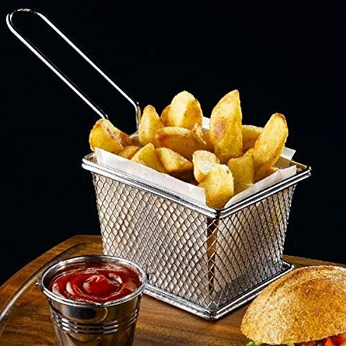 Stainless Steel Mini Square Fry Basket French Fries Holder, Fried Food Table Serving (Small - Serving Basket Square