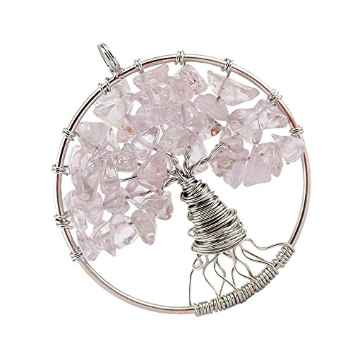 Price comparison product image AENMIL Natural Crystal Gravel Tree of Life Pendant Necklace,  Charm Handling & Delicate Winding Choker for Festival Gifts - White crystal