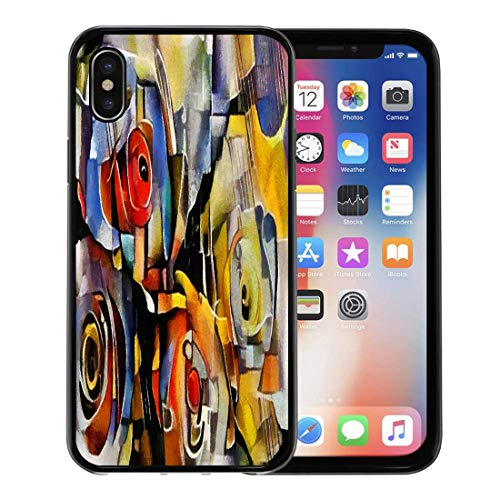 Semtomn Phone Case for Apple iPhone Xs case,Bouquet of Beautiful Flowers in Modern and Cubism from Picasso Kandinsky Executed Oil on Canvas Fine for iPhone X Case,Rubber Border Protective Case,Black