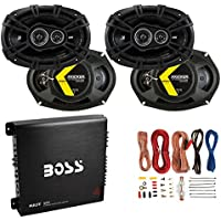 Kicker 6x9 360W Car Speakers (4 Pack) + Boss 1000W Amplifier + 8 Gauge Wiring