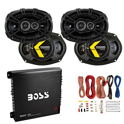 Kicker 6x9 360W Car Speakers (4 Pack) + 1000W Amplifier + 8 Gauge Wiring