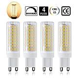 G9 LED Bulb, All-New(102LEDs) G9 Bulbs Replace 75W Halogen Bulbs, Dimmable G9 LED Bulbs, 850Lumens, 360° Beam Angle LED Corn Bulb(4-Pack) (Warm White)