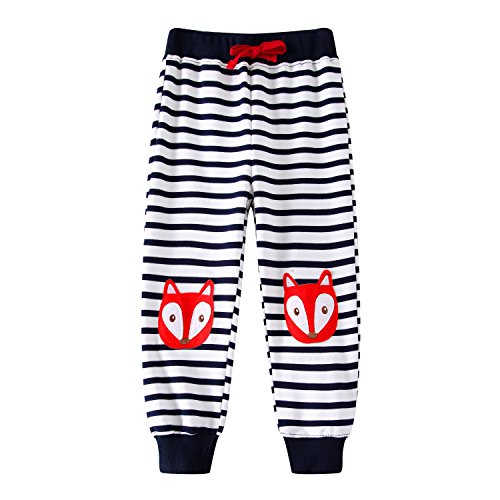 Boys Pants Long Cartoon Appliques Kids Sweatpants Cotton for Child Spring Autumn,Striped (Fox Sweatpants)