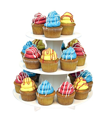 Brownie Tower - The Smart Baker 3 Tier Round Cupcake Tower- Holds 24 Cupcakes. Reusable, Multi-purpose, Economy Size Dessert and Treat Stand