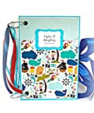 Kristabella Creations Baby boy memory book, Size A4 8x11 inches, Metal ring binding, 20 decorated pages inside, Interactive elements, Month Cards, Growing chart, Beautiful baby shower gift