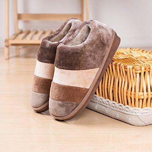 Pantofole Antiscivolo Delle Donne Smile Morbida Memoria Di Memoria Caldo Pile Foderato Interno Casa Allaperto Mens Pantofole A Strisce Scarpe Invernali Caffè