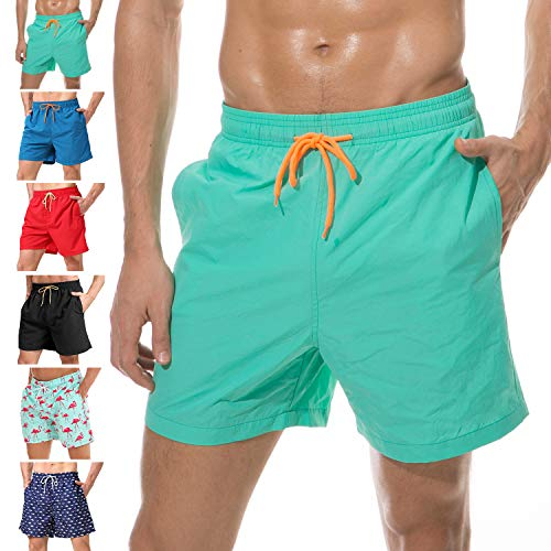 - anqier Mens Swim Trunks Quick Dry Beach Shorts Mesh Lining Board Shorts Swimwear Bathing Suits with Pockets (Lake Green, US XL (Fits Waist 36.5