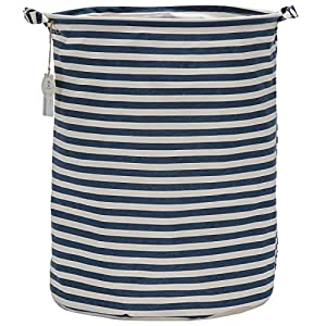 "Sea Team 19.7"" Large Sized Waterproof Coating Ramie Cotton Fabric Folding Laundry Hamper Bucket Cylindric Burlap Canvas Storage Basket with Stylish Navy & White Stripe Design"