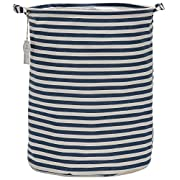 Sea Team 19.7  Large Sized Waterproof Coating Ramie Cotton Fabric Folding Laundry Hamper Bucket Cylindric Burlap Canvas Storage Basket with Stylish Navy & White Stripe Design